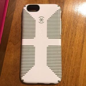 iPhone 6, White speck phone case with blue accents